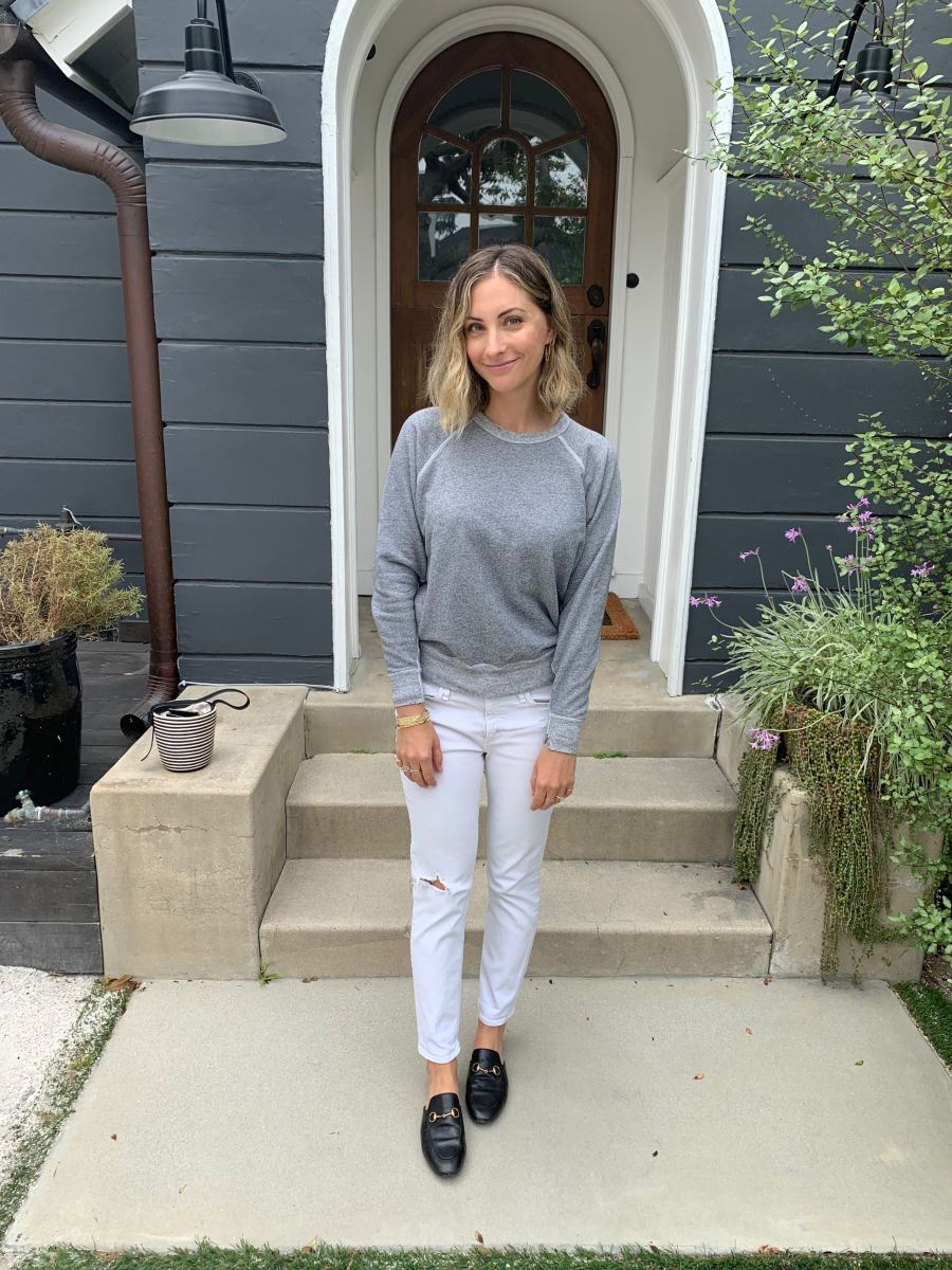 Friday: The GREAT. Sweatshirt, McGuire Jeans (similar here), Gucci Slides (affordable version here)