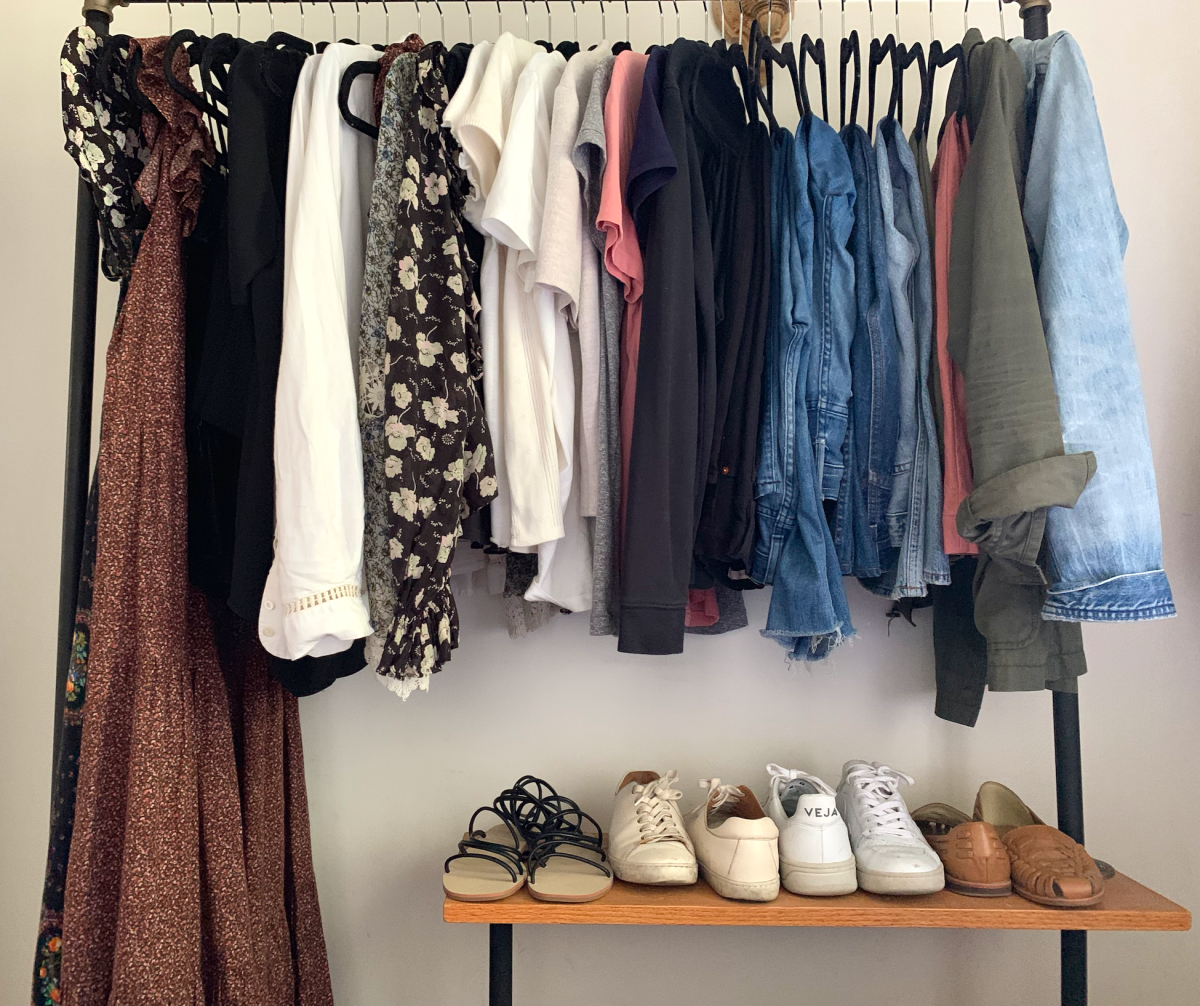 "The entirety of my ""daily"" closet (Shoes from left to right: Cupcakes and Cashmere, Sezane, Veja, Nisolo)"