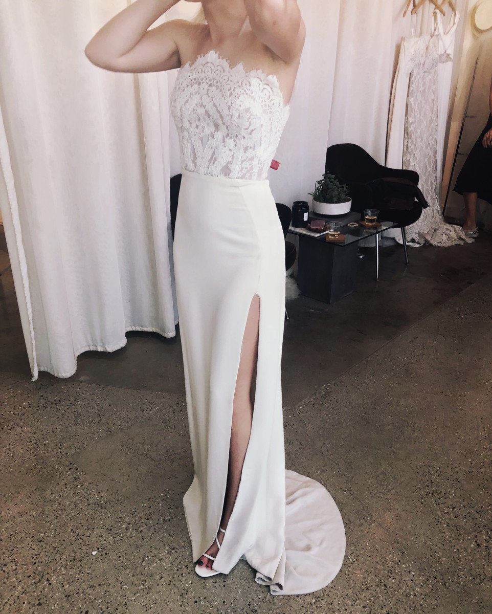 """The dress I tried on at the first salon that was """"the dress to beat"""". Unbridaled by Dan Jones from LOHO Bride."""
