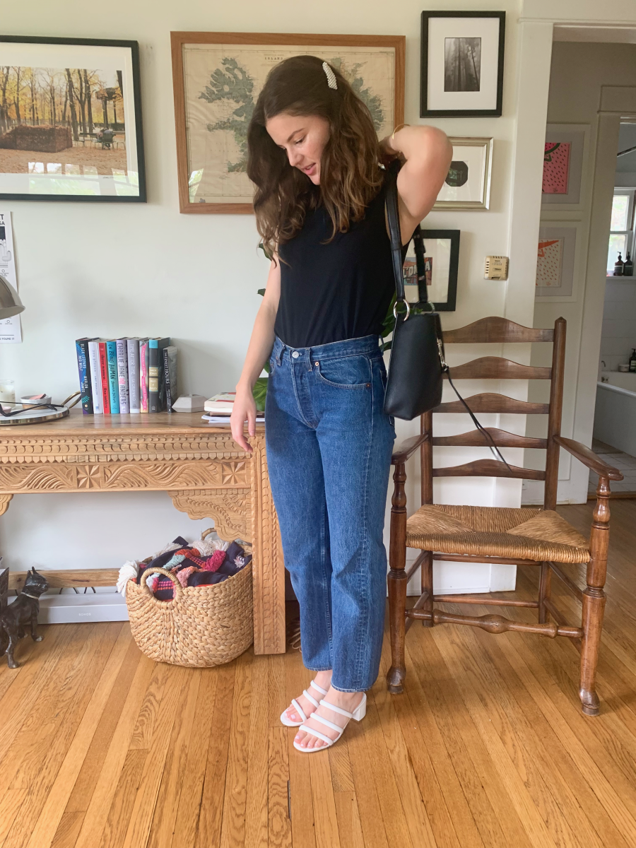 Rebecca Minkoff Purse, Pearl Clip, Everlane Top, Vintage Levi's (similar here), Charlotte Stone Shoes