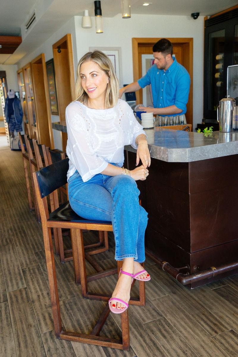 Topshop Blouse, AGOLDE Denim, Marini Heeled Sandals