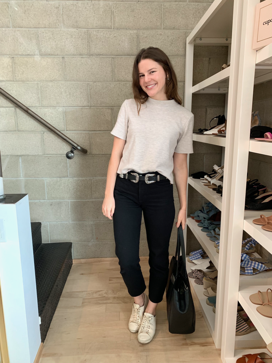 ZARA Tee, Ally Earrings (in silver), Black Levi's, B-low the Belt Baby Baby Bri Bri Belt (affordable version here), Sezane Sneakers (similar here), Dagne Dover Tote