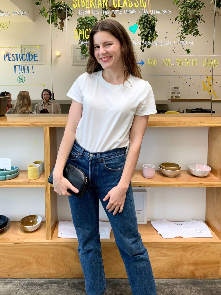 Mila Hoops, Madewell Tee, Vintage Levi's (from Virgo, in Downtown L.A.)* (similar here), Jenni Kayne Slides, Sezane Wallet (similar here), BITE Custom Lipstick (similar here)
