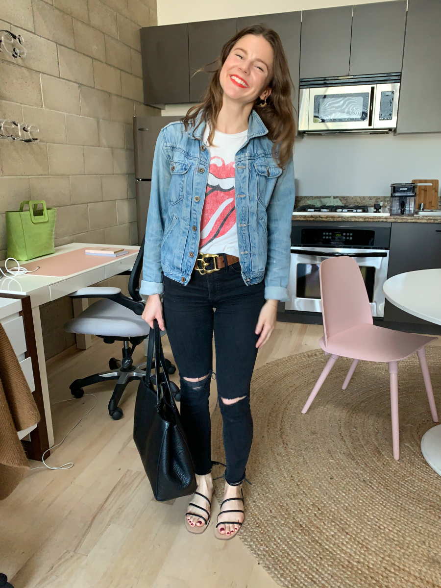 Madewell Earrings, Madewell Denim Jacket, Daydreamer Tee, Vintage Ralph Lauren Belt (similar here), Madewell Denim, Cupcakes and Cashmere Sandals, Dagne Dover Tote, NARS Lipstick in 'Fire'
