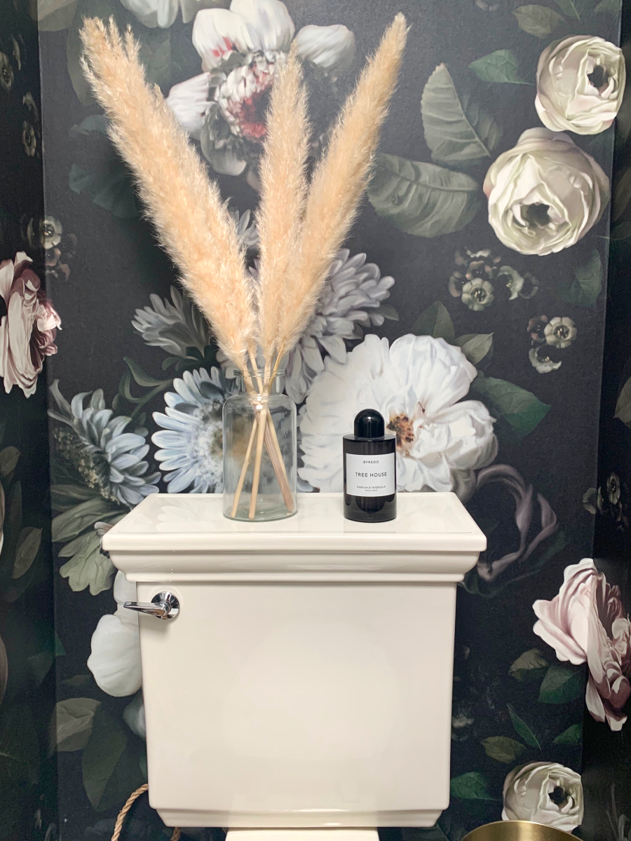 Pampas Grass and my favorite bathroom spray, Byredo in 'Treehouse'