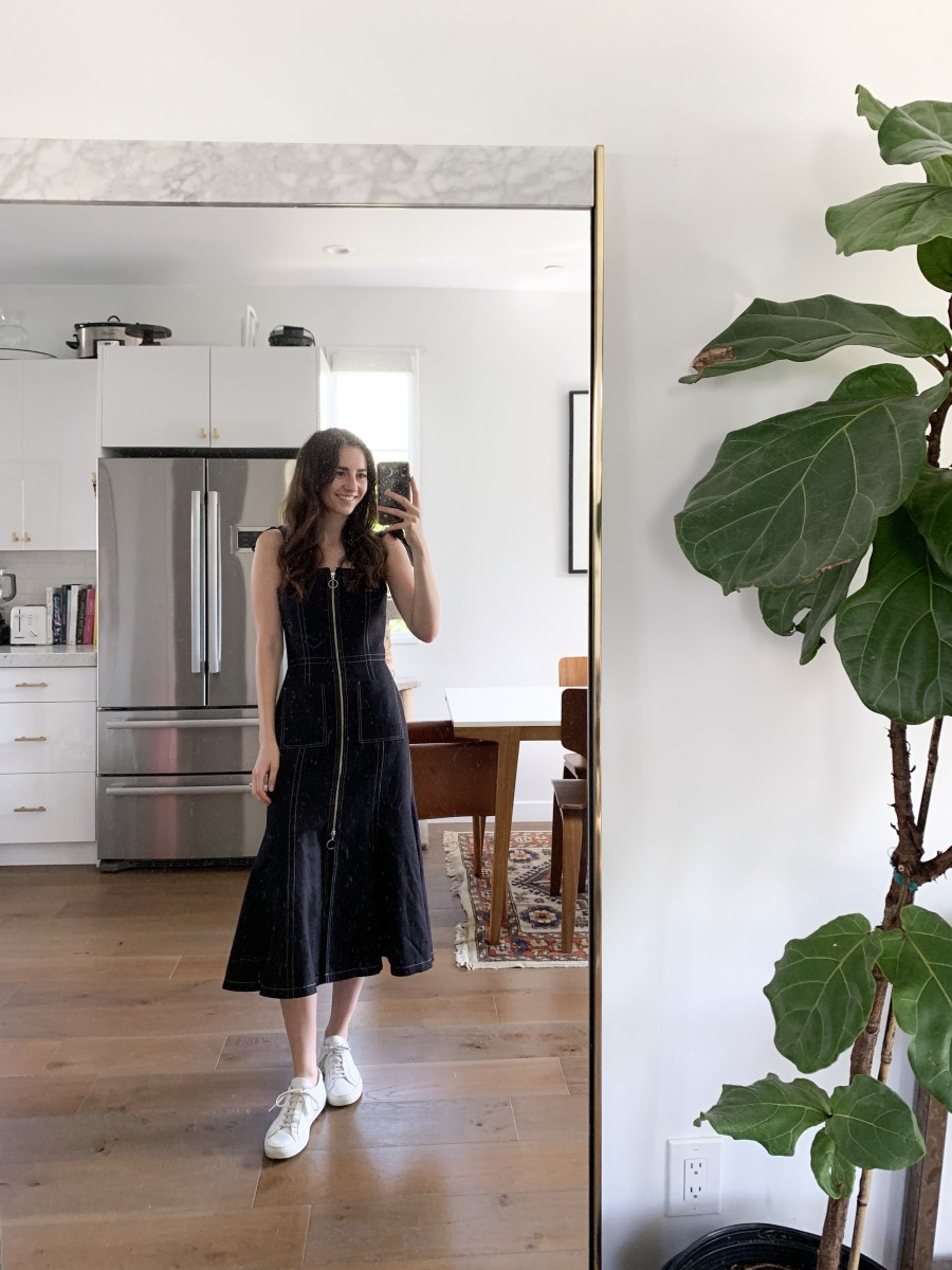 C/MEO Collective dress, Common Projects sneakers.
