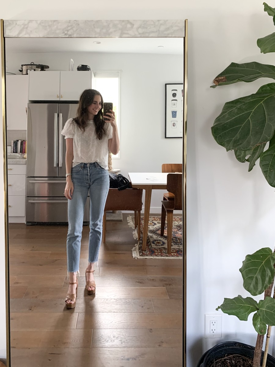 Free People blouse, vintage Levi's, Topshop platforms (similar here).
