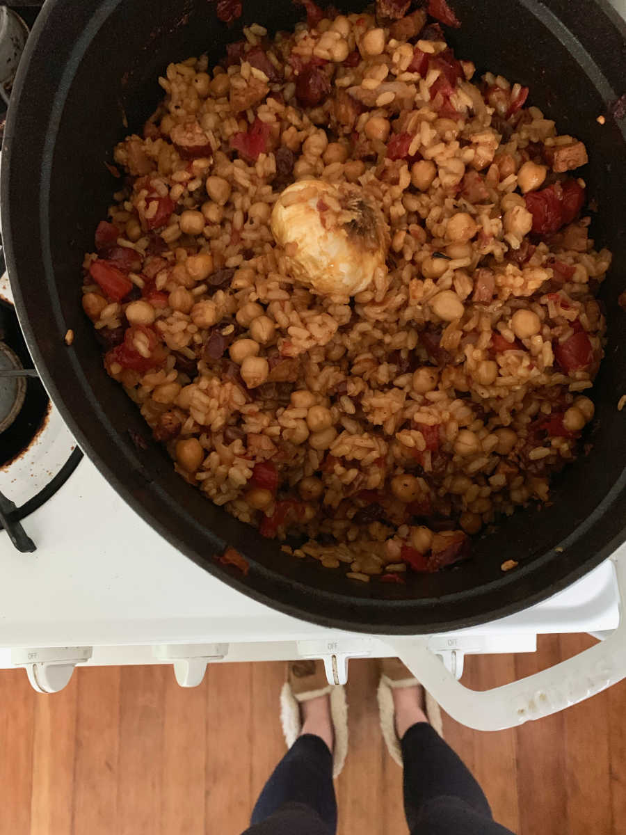 I've been a bit obsessed with this chickpea dish lately... (used vegan sausage instead of chorizo)