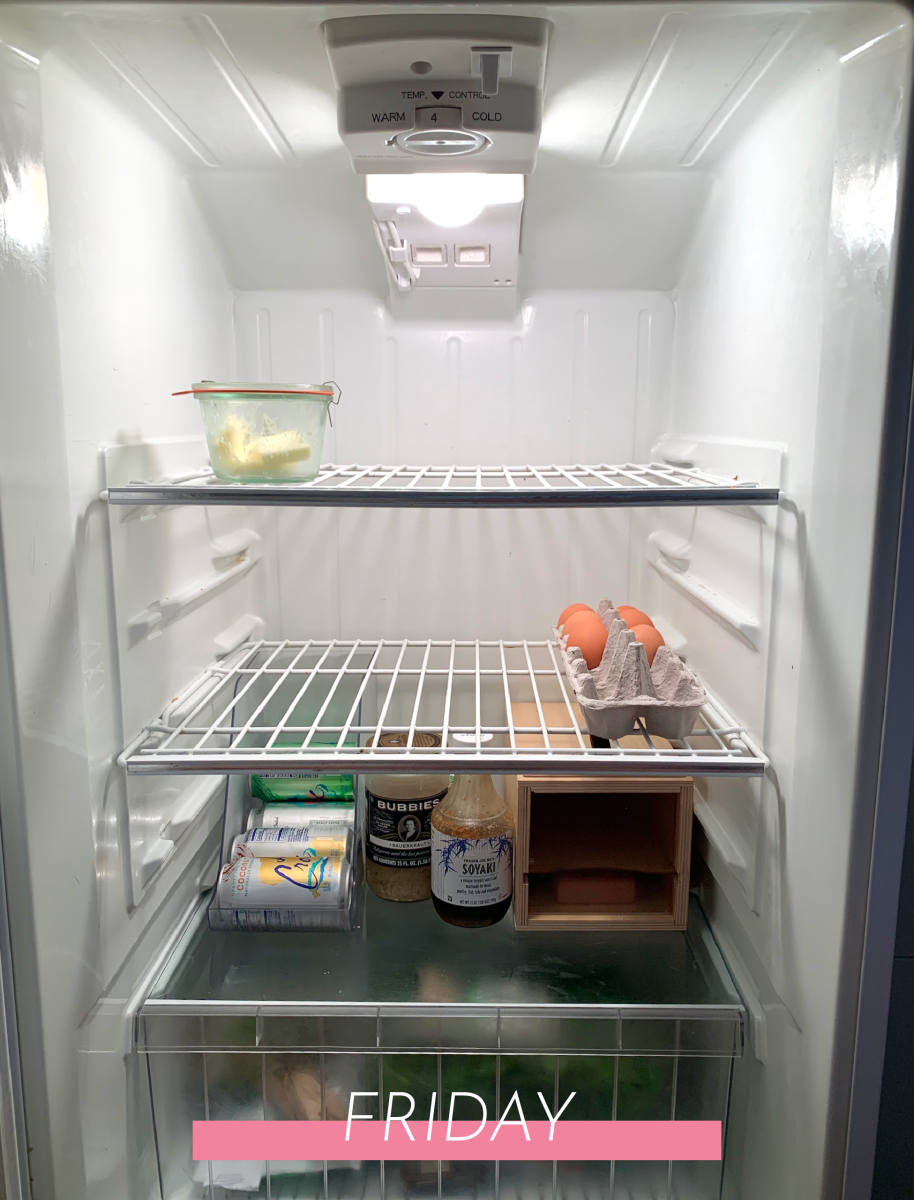 A cleaned-out fridge before leaving town for the weekend! And a blank slate to start again on Sunday.