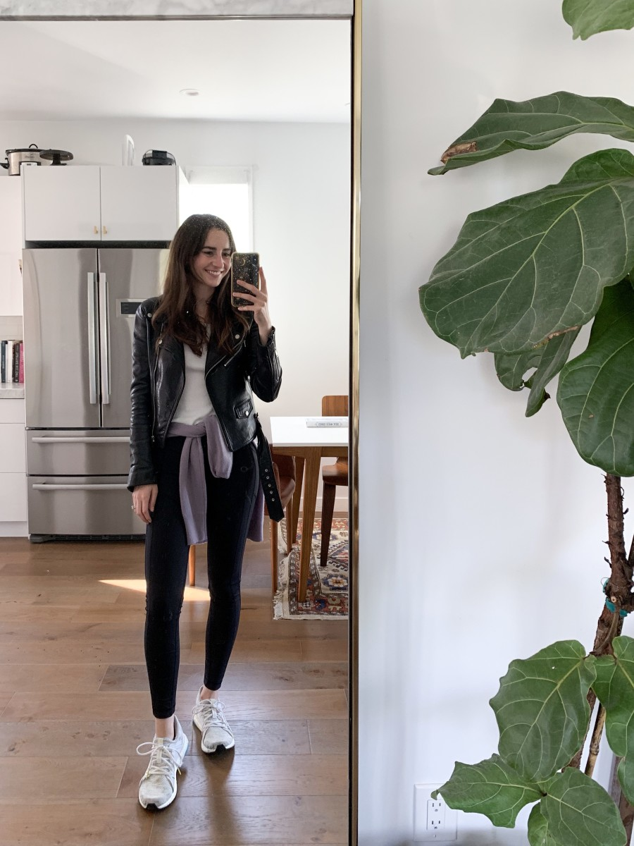 Lululemon leggings, Adidas by Stella McCartney sneakers (similar here), vintage sweatshirt, Vince tank (similar here), UNIFORM leather jacket (similar here).