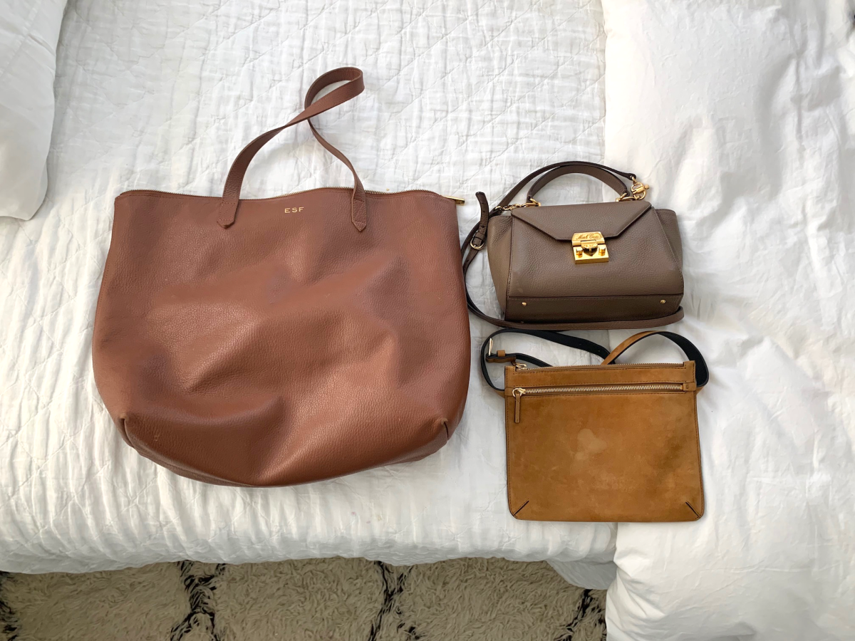 From left to right: Cuyana, Mark Cross (similar here), Theory belt bag (similar here)