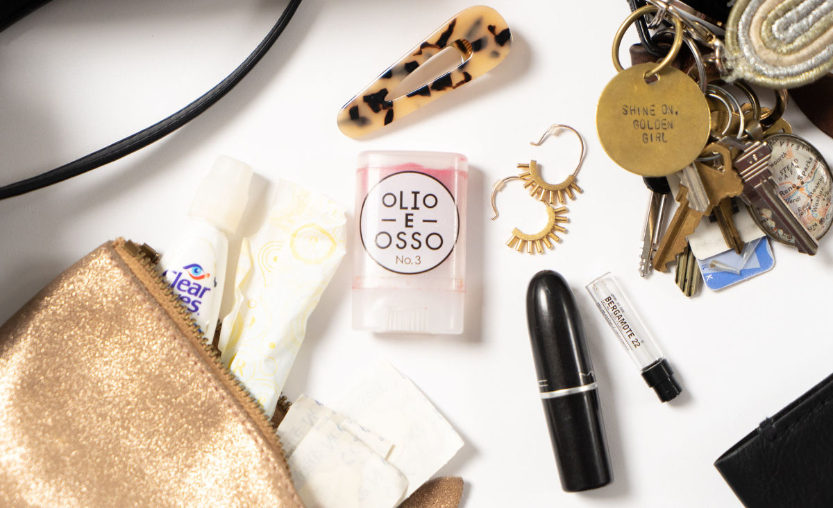 Mila Louise Pouch, Olio E Osso No. 3 Tinted Lip Balm, Tortoise Hair Clips, Mac 'Diva' Lipstick,undefinedMadewell gold earrings