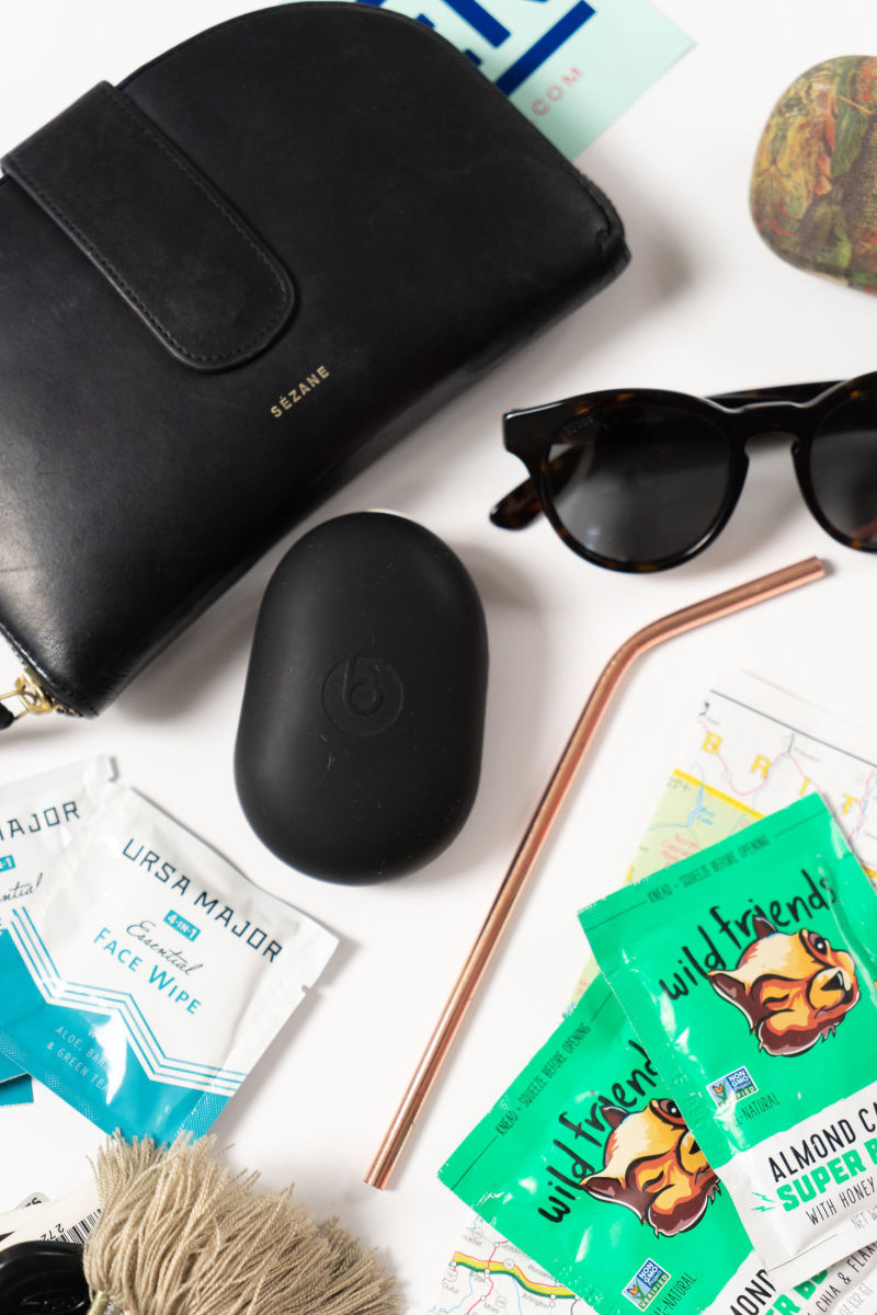Ursa Major Face Wipes, Reusable Straw, Sezane Wallet (similar here), Sunglasses with Birds of New Zealand Case (similar here), Beats Headphones, Wild Friends Nut Butter