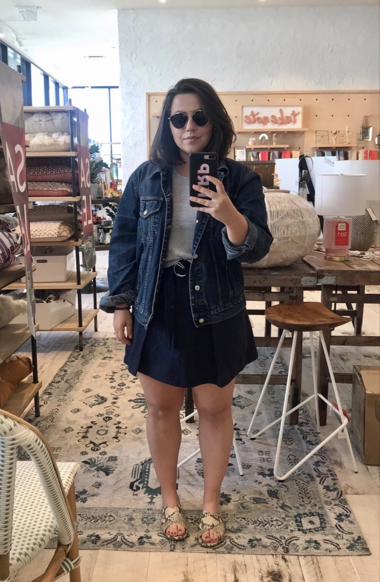 Wednesday: Dior Sunglasses, Vintage Denim Jacket* (similar here), Forever 21 Tank (similar here), A.L.C. Skirt, Cupcakes and Cashmere Shoes, The Daily Edited Case