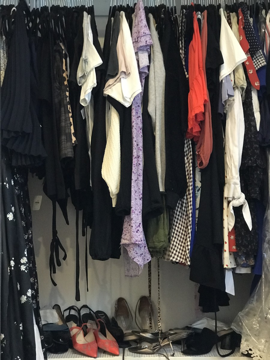 My closet is mostly black, and usually quite messy :)