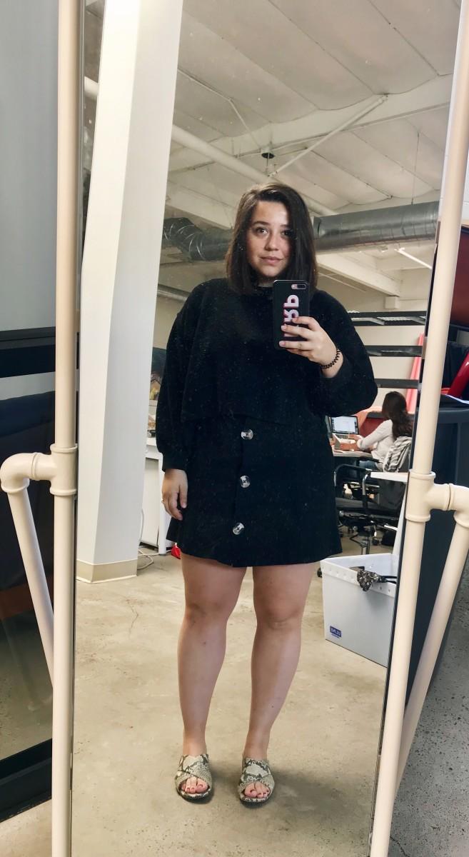 Zara Sweater (similar here), Topshop Dress (similar here), Cupcakes and Cashmere Slides