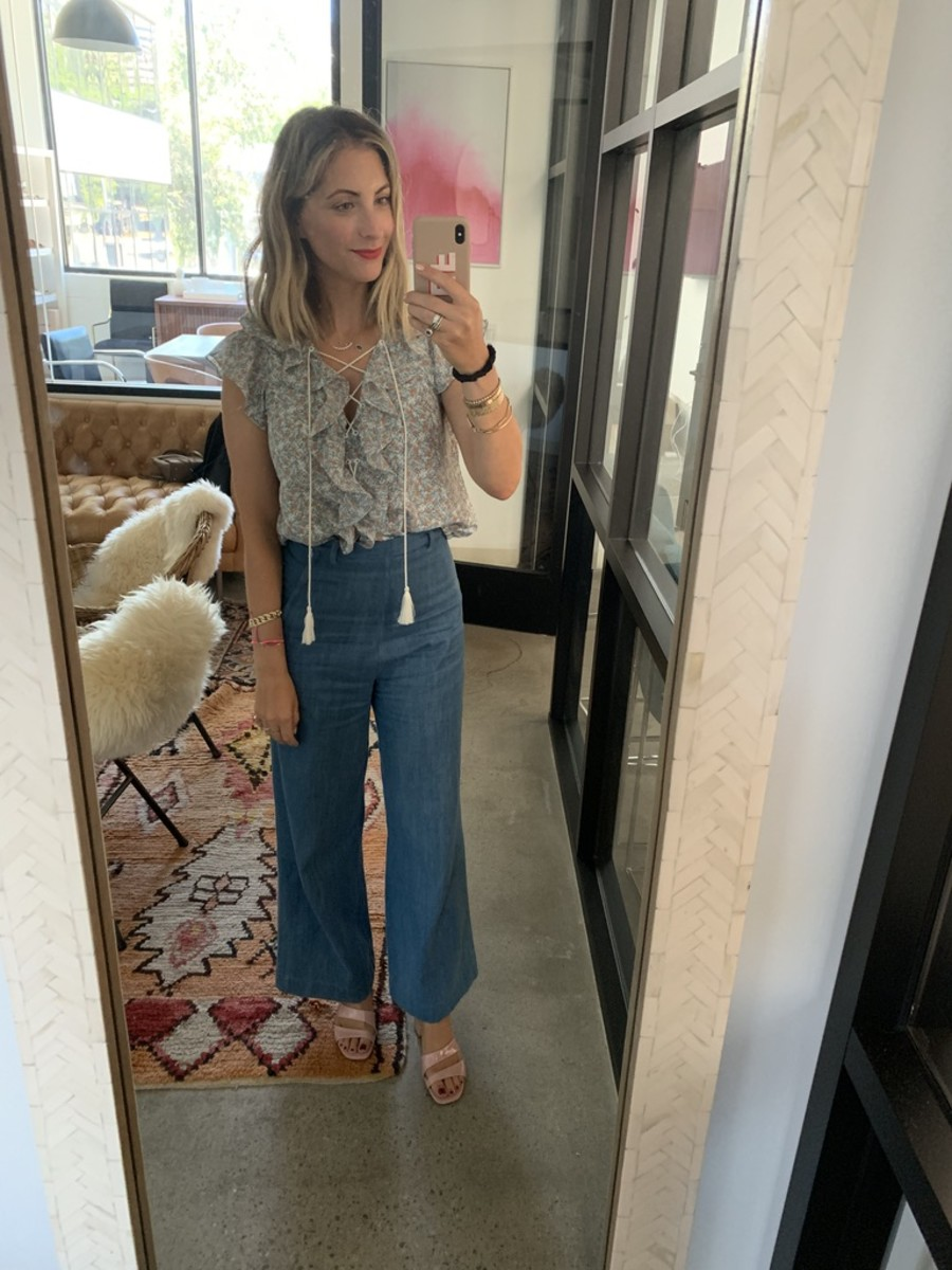 Tuesday: Cupcakes and Cashmere Blouse,Samantha Pleet Jeans (similar here), Cupcakes and Cashmere Shoes, Silk Scrunchie, Nars 'Famous Red' Lipstick Pencil, TDE Phone Case