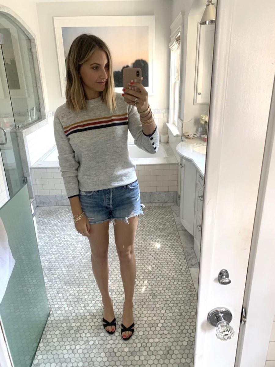 Monday: Cupcakes and Cashmere Sweater, AGOLDE Shorts, Miu Miu Sandals (similar here)