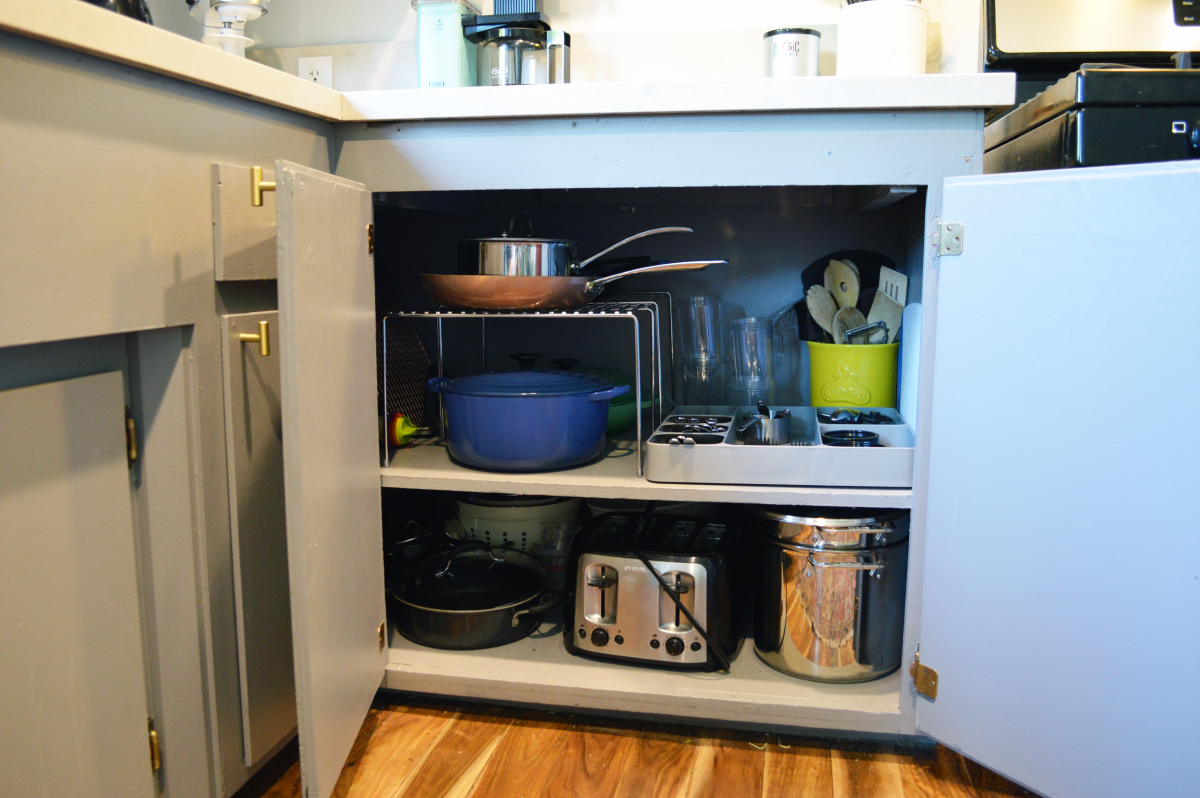 My deep, L shaped cabinets are great for storage but needed these shelves to actually maximize the space.