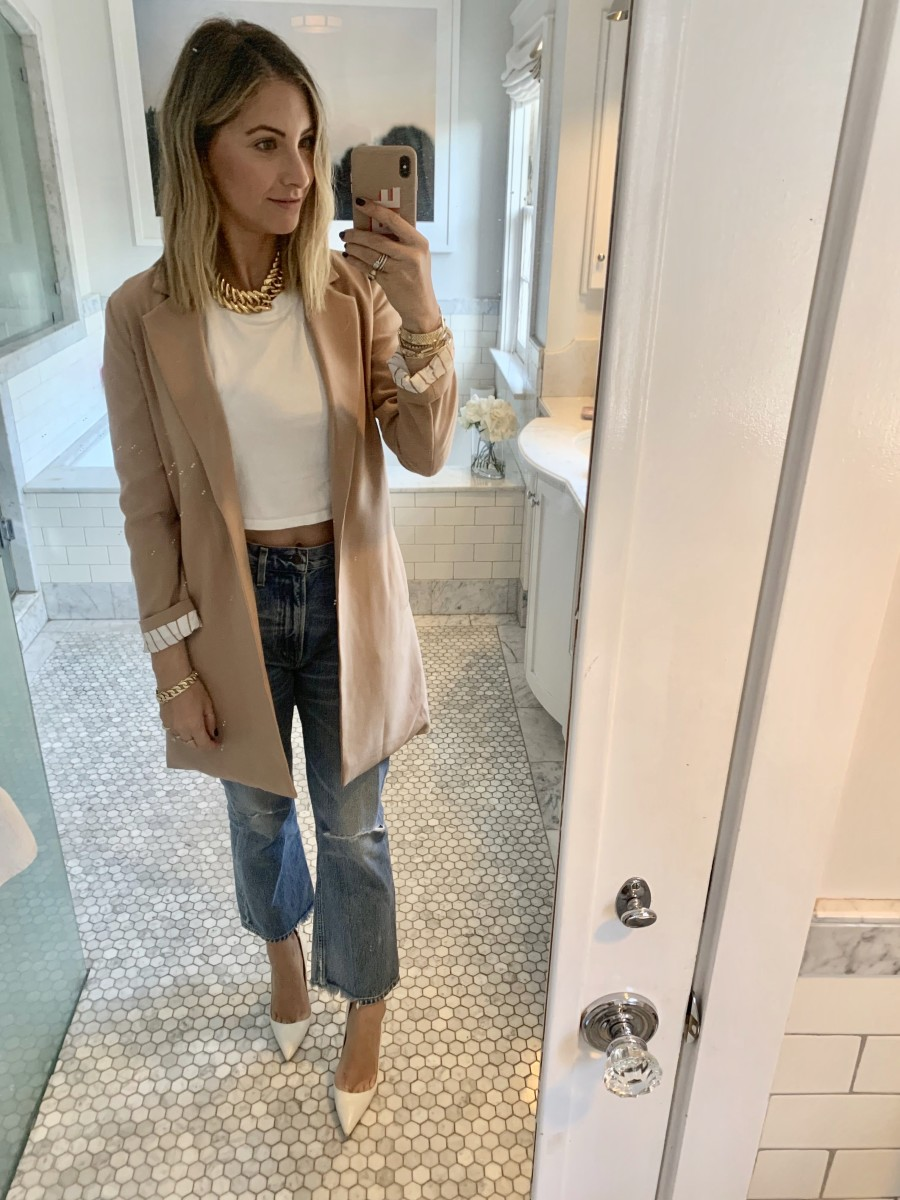 Friday: Vintage YSL Necklace (similar here), Cupcakes and Cashmere Blazer, Hanes x Karla Tee, Citizens Of Humanity Jeans, Manolo Blahnik Pumps (affordable version here)