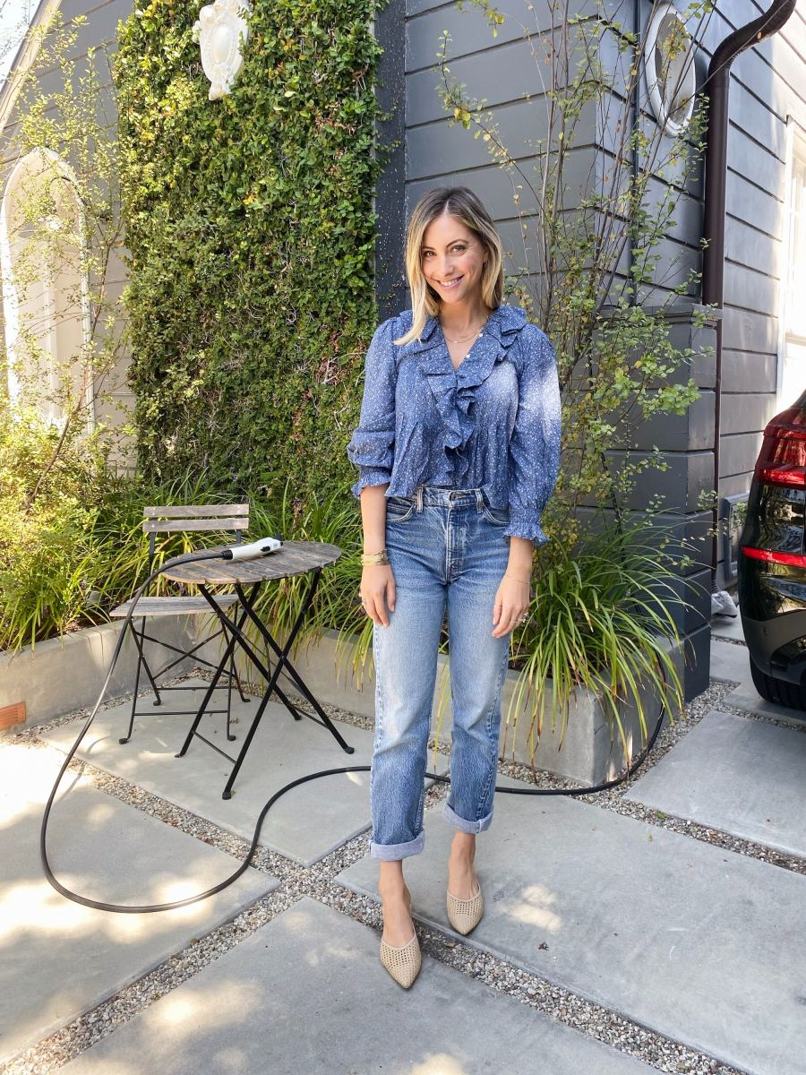 Tuesday: Doen Top, Vintage Levi's (similar here), Cupcakes and Cashmere Mules
