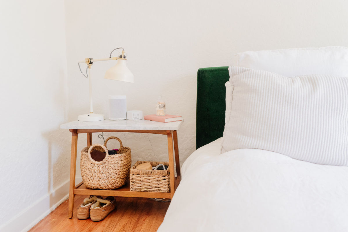 West Elm Nightstand (similar here), Ikea Lamp, Cost Plus World Market Baskets (similar here), Sonos Speaker, White Noise Machine, Journal from shop in Paris
