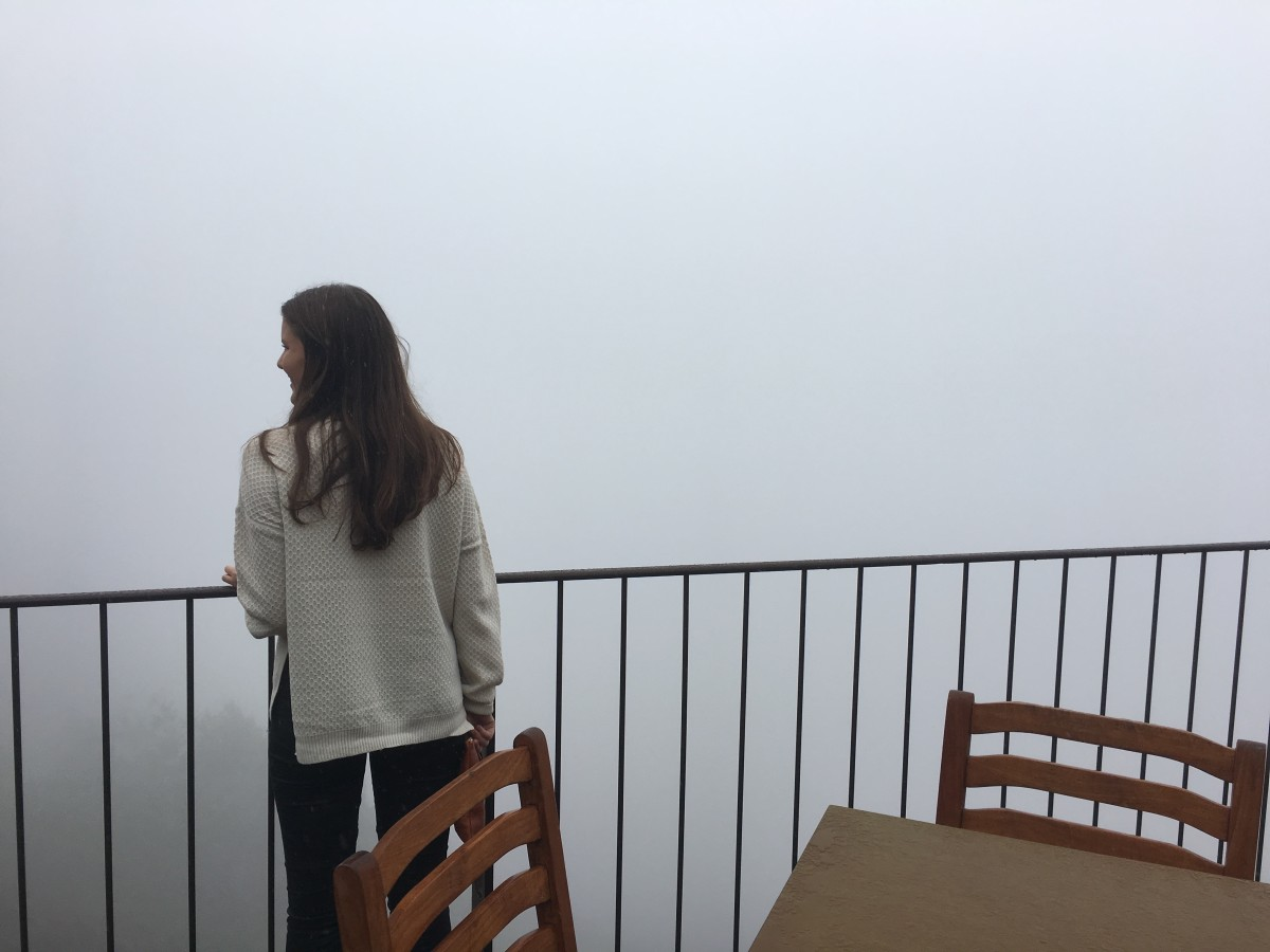 At lunch at the Post Ranch Inn, three years ago (there's an ocean somewhere under those clouds!)