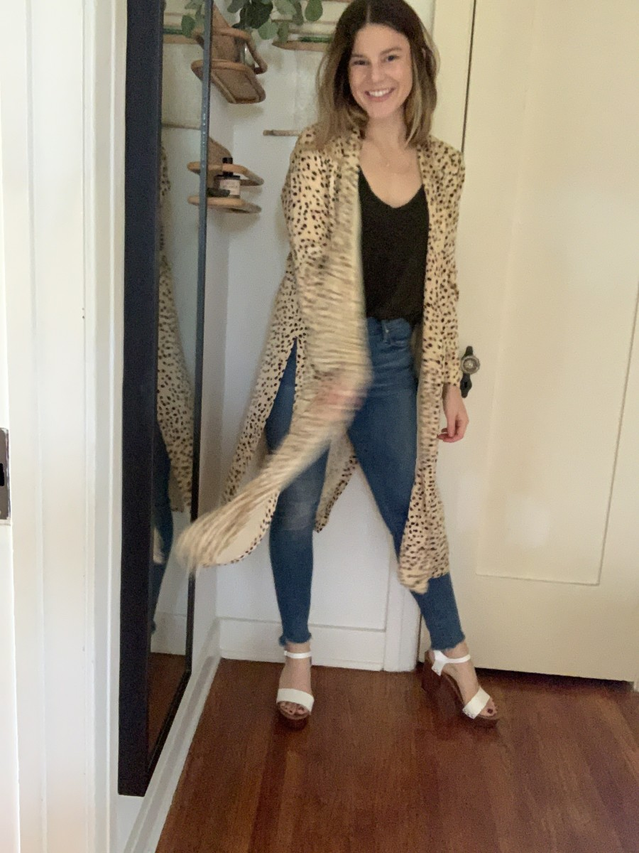 Cupcakes and Cashmere Arianne Duster, ATM Tank, MOTHER Denim, Steve Madden Platforms