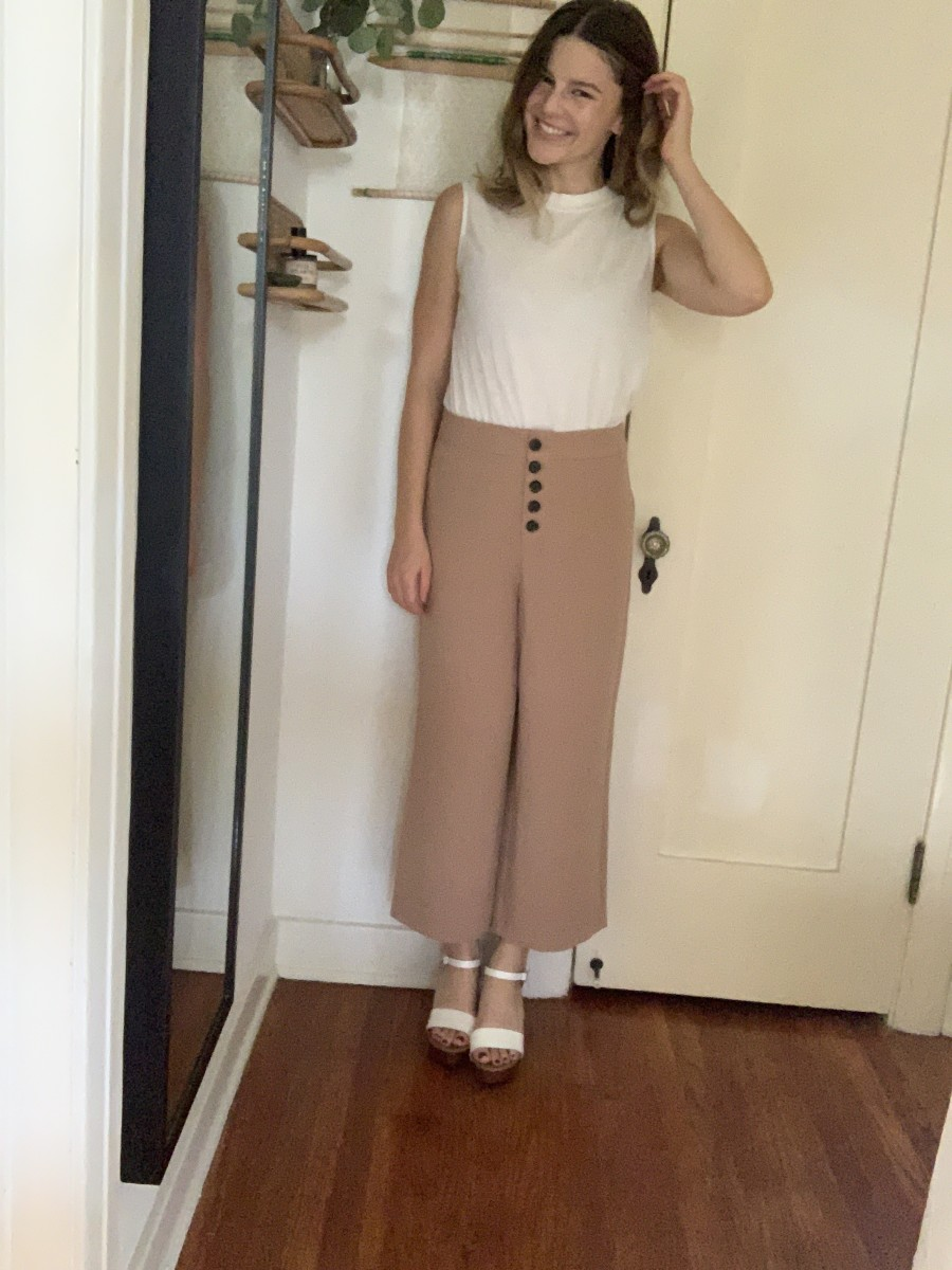 Everlane White Cotton Tank, Cupcakes and Cashmere Trula Pants, Steve Madden Platforms