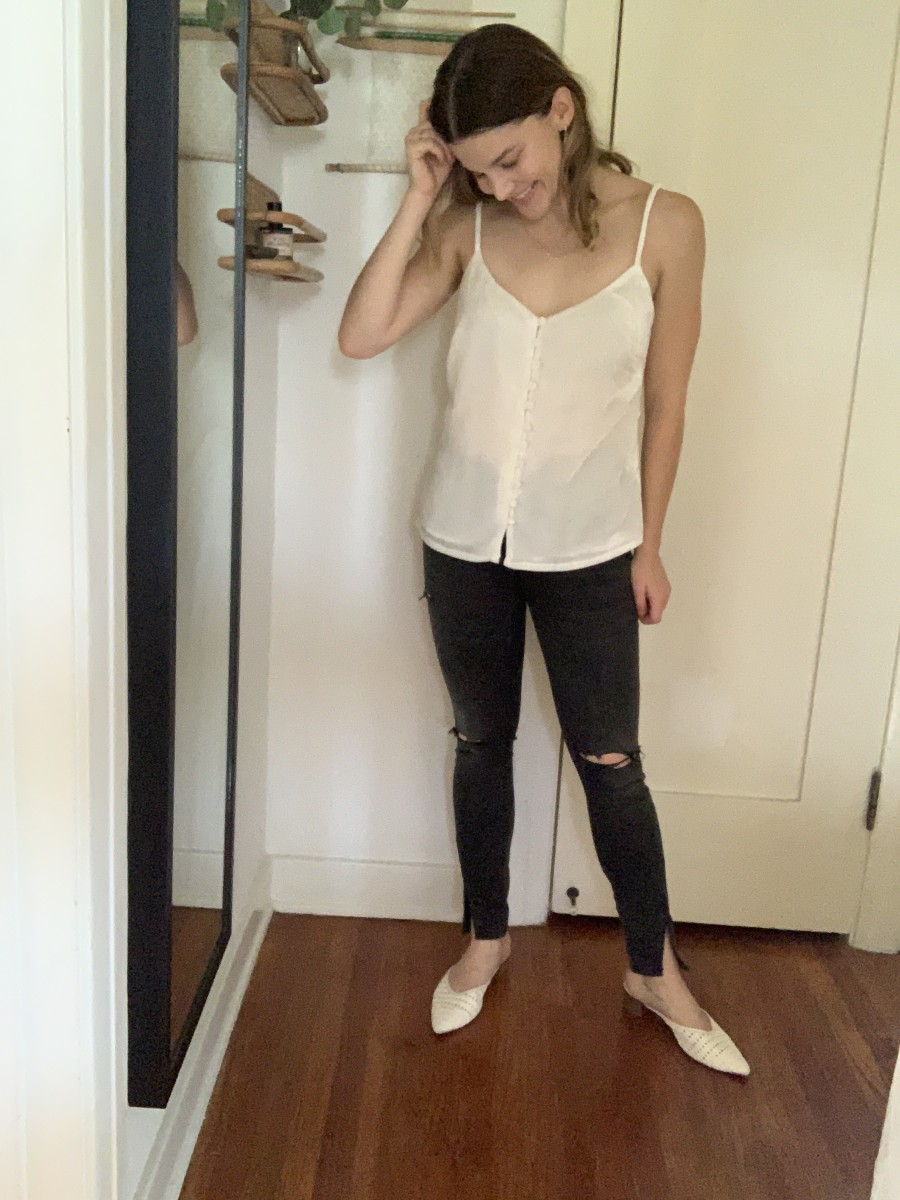 Cupcakes and Cashmere Delaine Velvet Cami, Boyish Jeans, Cupcakes and Cashmere Slides