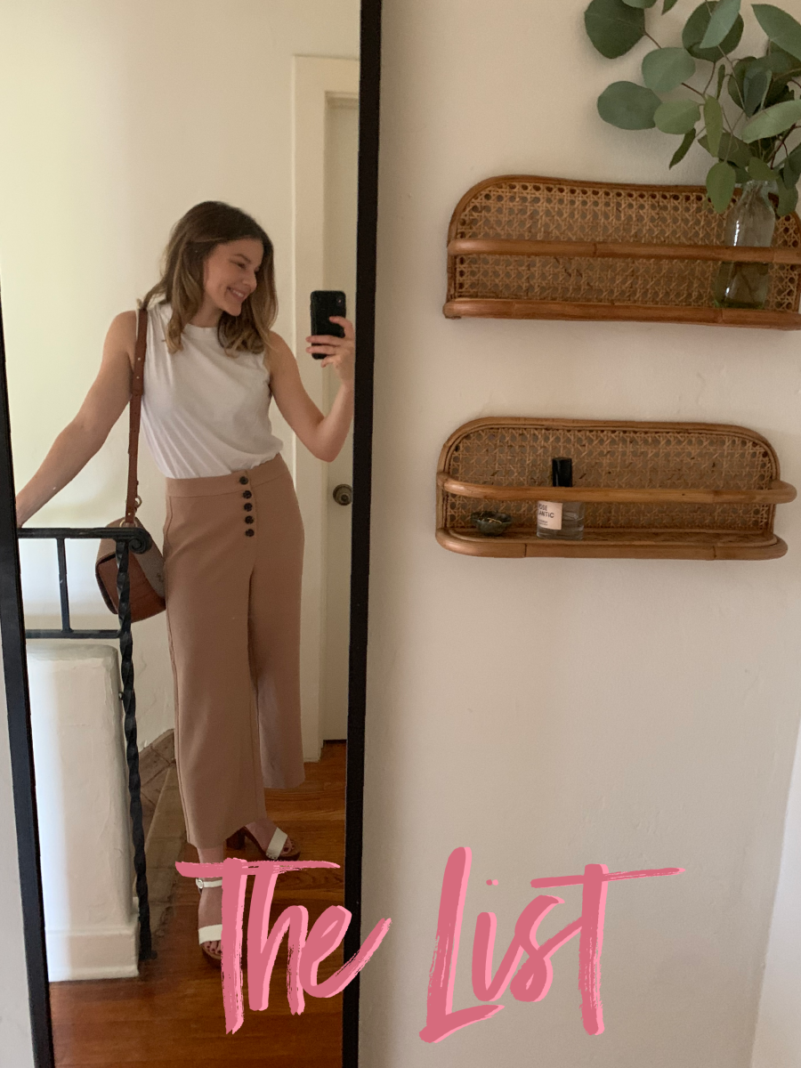 I tried on every item from Cupcakes and Cashmere's fall line for a post tomorrow (then took this selfie to celebrate how much I love these pants!)