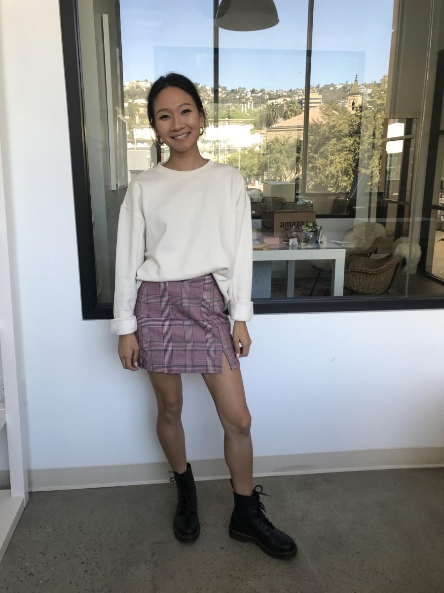 Wednesday: Tai Huggies, H&M Sweatshirt, Brandy Melville Skirt (similar here), Doc Martens