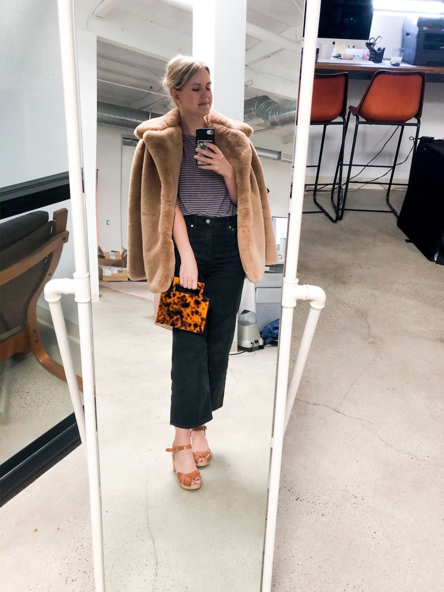 Tuesday: Zara Tee (similar here), Cupcakes and Cashmere Coat (coming soon! similar here), Zara Tee (similar here), Madewell Jeans, Swedish Hasbeens Clogs, Purse (coming to The Shop soon!)