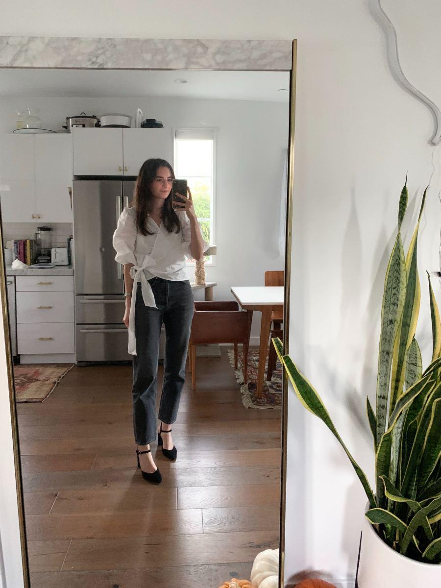 Thursday:Topshop Blouse (similar here), AGOLDE Jeans, Loeffler Randall Shoes (similar here)