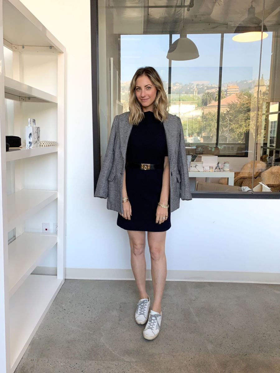 Thursday: ASTR Blazer, Theory Dress, Hermes Belt (similar here), Golden Goose Sneakers (affordable version here)