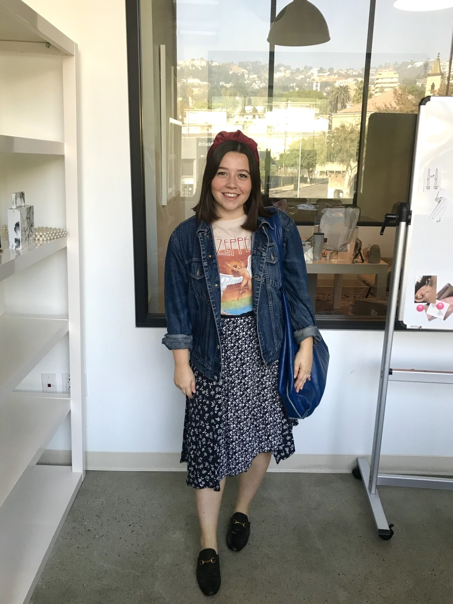 Shop Headband (coming soon!), Vintage Jacket (similar here), Daydreamer Tee, Rag & Bone Skirt (similar here), Amazon Loafers, Vintage Bag (similar here)