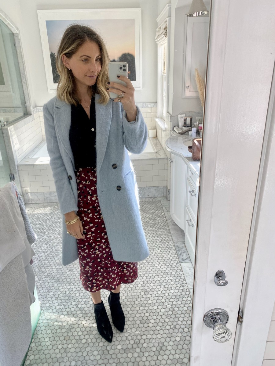 Monday: Cupcakes and Cashmere Coat , & Other Stories Top (similar here), Heartloom Skirt, Zara Booties (similar here)