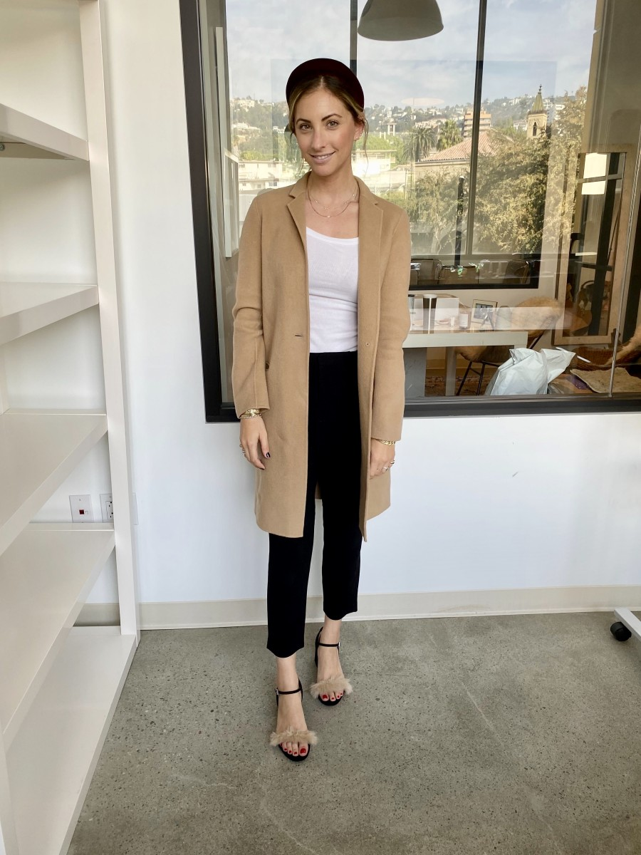 Thursday: Jennifer Behr Headband, Theory Coat (similar here), Cotton Citizen Tank, Nili Lotan Pants (similar here), Zara Heels (similar here)