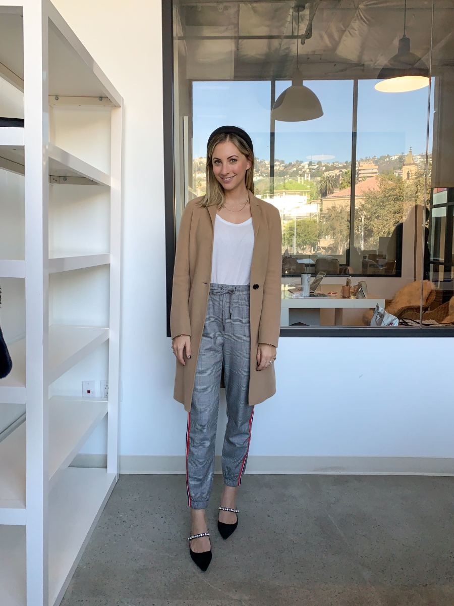 8 Other Reasons Headband, Theory Jacket (similar here), James Perse Tee (similar here), Cupcakes and Cashmere Pants, Prada Shoes (similar here)