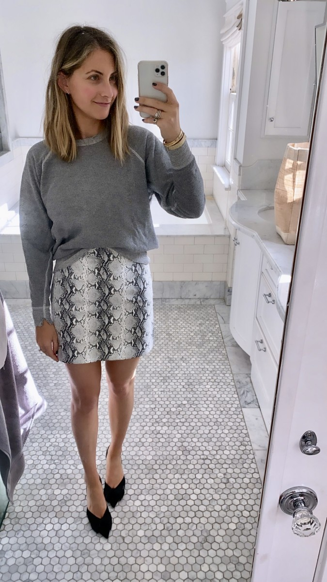 The Great Sweatshirt, Cupcakes and Cashmere Skirt, Zara Heels (similar here)