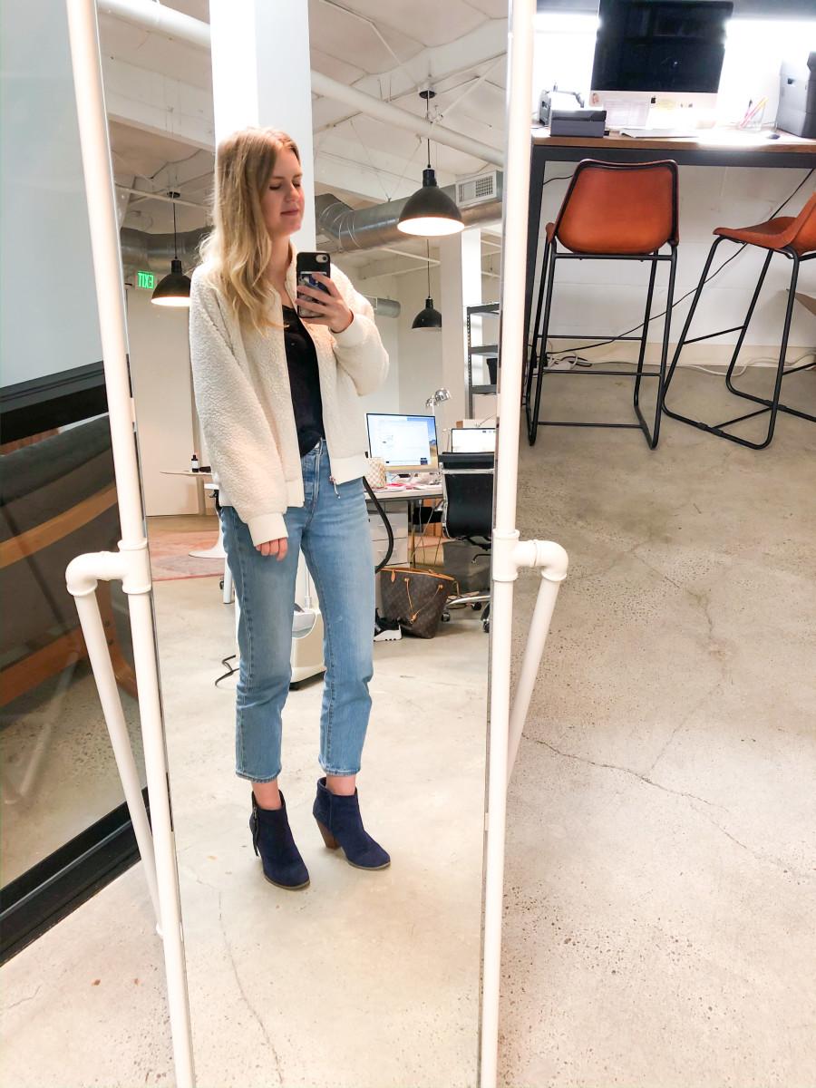 Wednesday (Kelly): Calia Jacket (similar here), J.Crew Long Sleeve Tee, Levi's Jeans, Sole Society Boots (similar here)