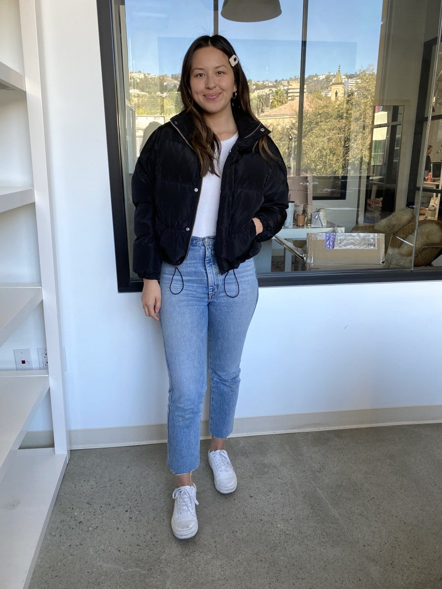 Friday (Raven): C&C Shop Clips (similar here), Urban Outfitters Coat, Gap Tee, AGOLDE Jeans, Vans Sneakers