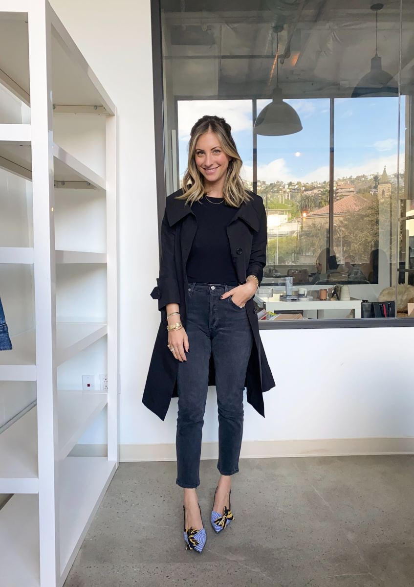 Thursday: Prada Coat (similar here), Theory Top (similar here), AGOLDEJeans, Prada Shoes