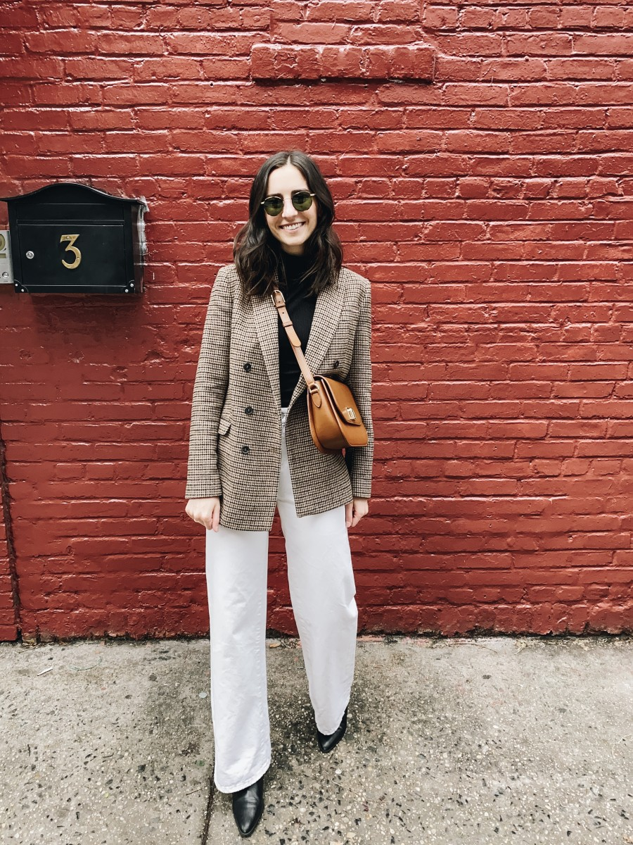 Reformation Turtleneck (similar here), Zara Blazer (similar here), ABLE Jeans, Zara Boots (similar here), Furla Purse (similar here), Garrett Leight Sunglasses