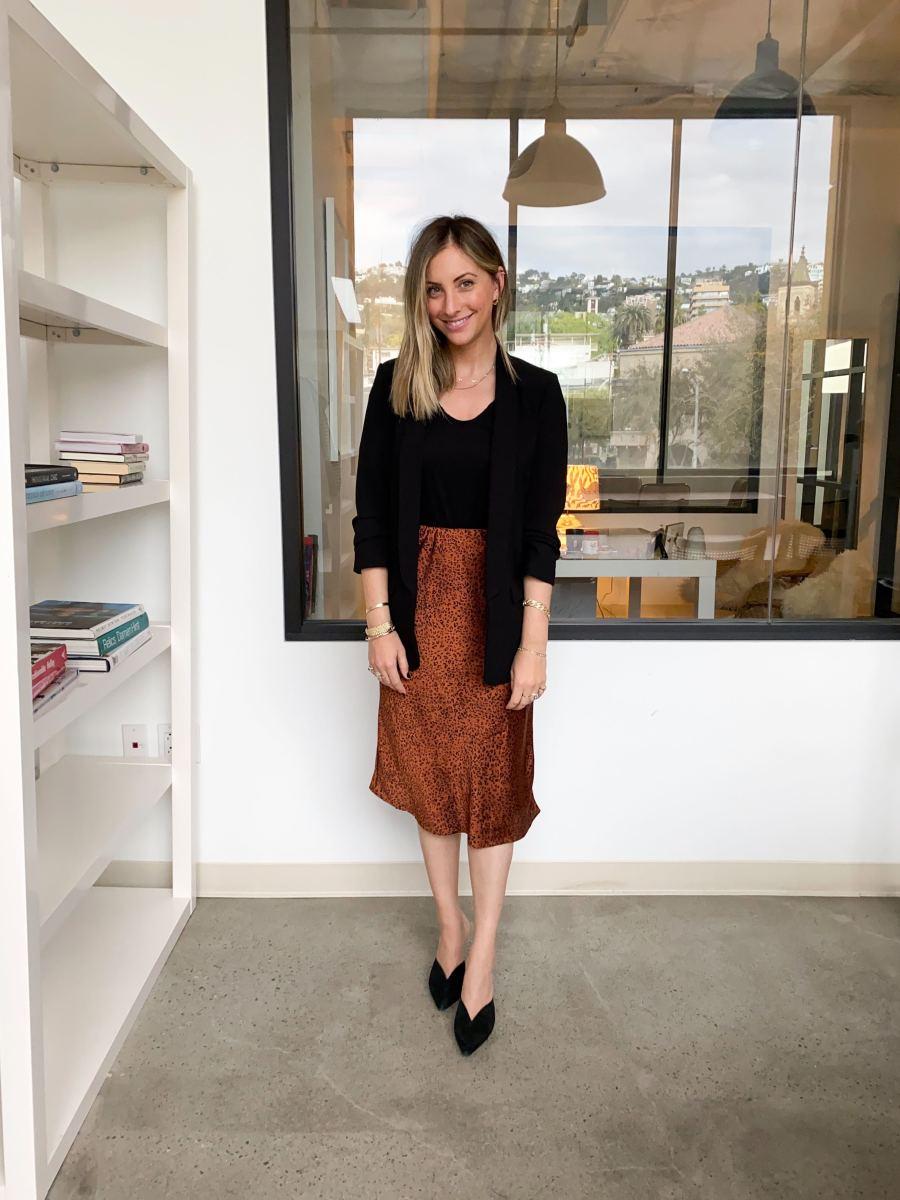 Zara Blazer, James Perse Top (similar here), Heartloom Skirt, Alexandre Birman Heels (similar here)