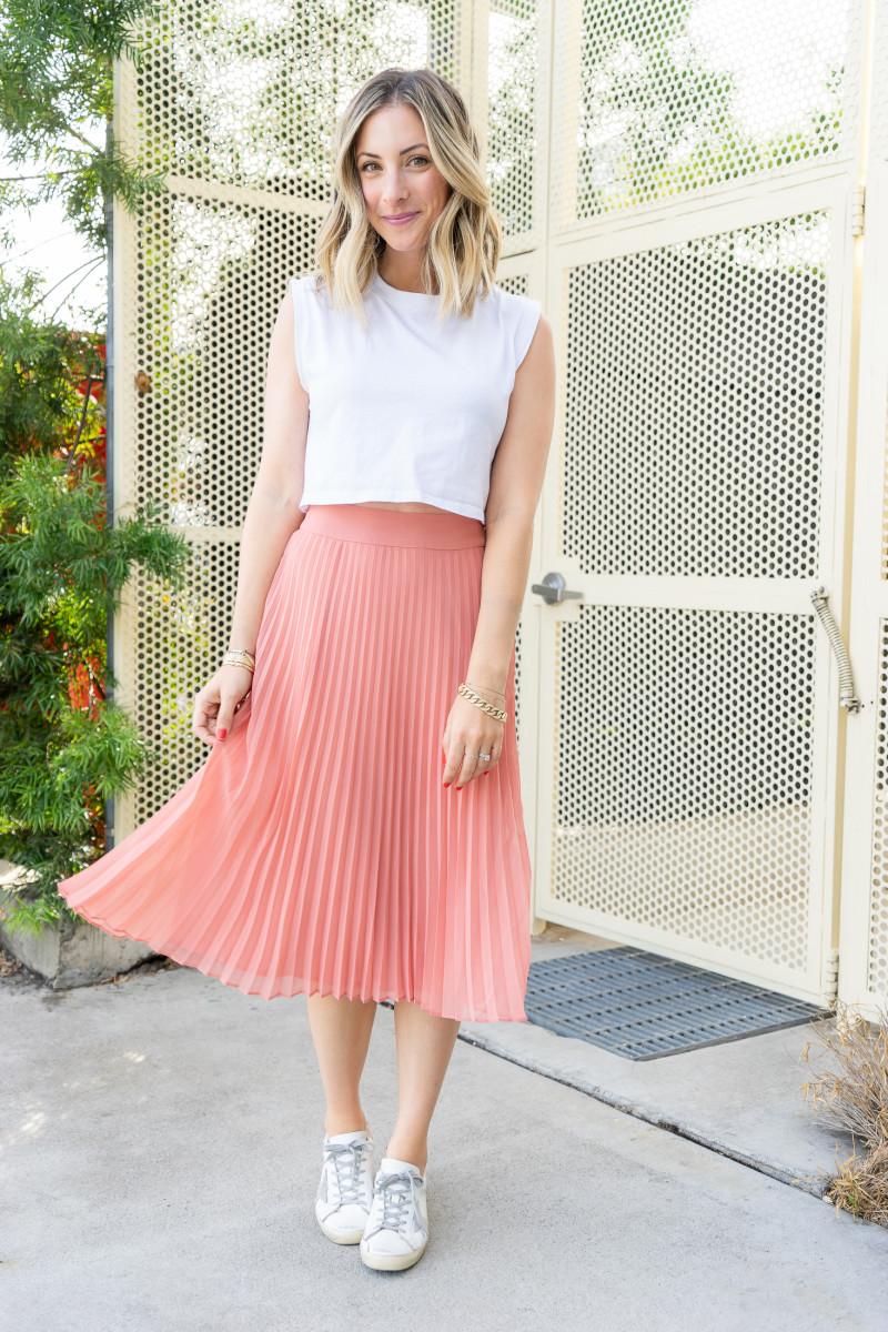 Tuesday: Hanes x Karla Tee, Sézane Skirt, Golden Goose Sneakers