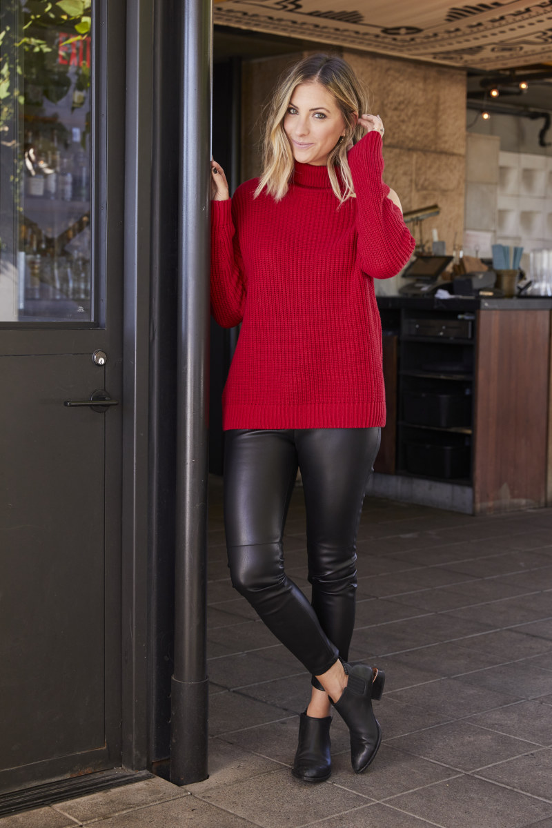 ASTR Sweater (also available in charcoal here), Cupcakes and Cashmere Faux Leather Leggings, Alexander Wang Booties