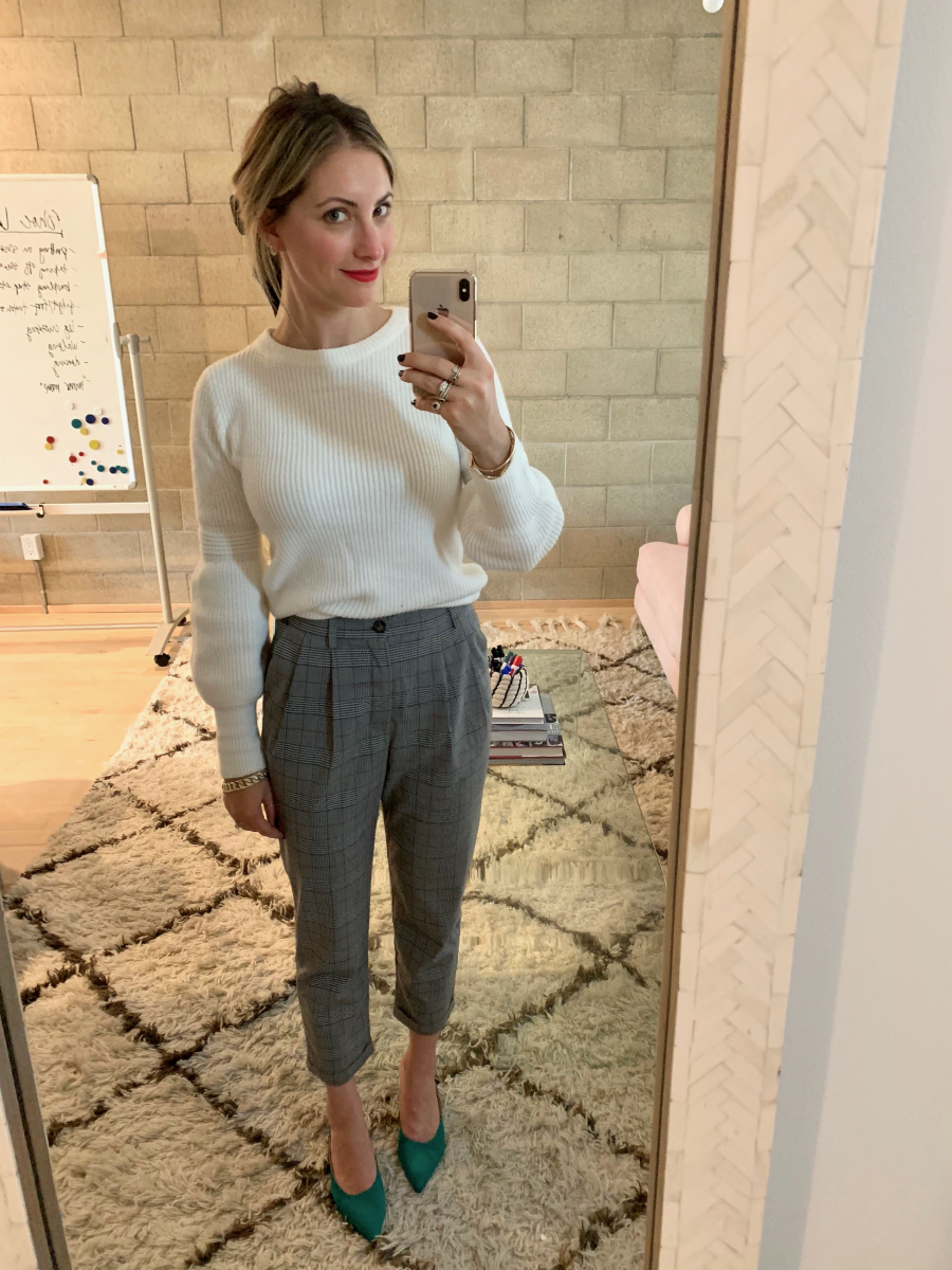 Monday: Jennifer Behr Bow, Line & Dot Sweater (similar version here), ASTR Pants, Gianvito Rossi Pumps (similar version here)