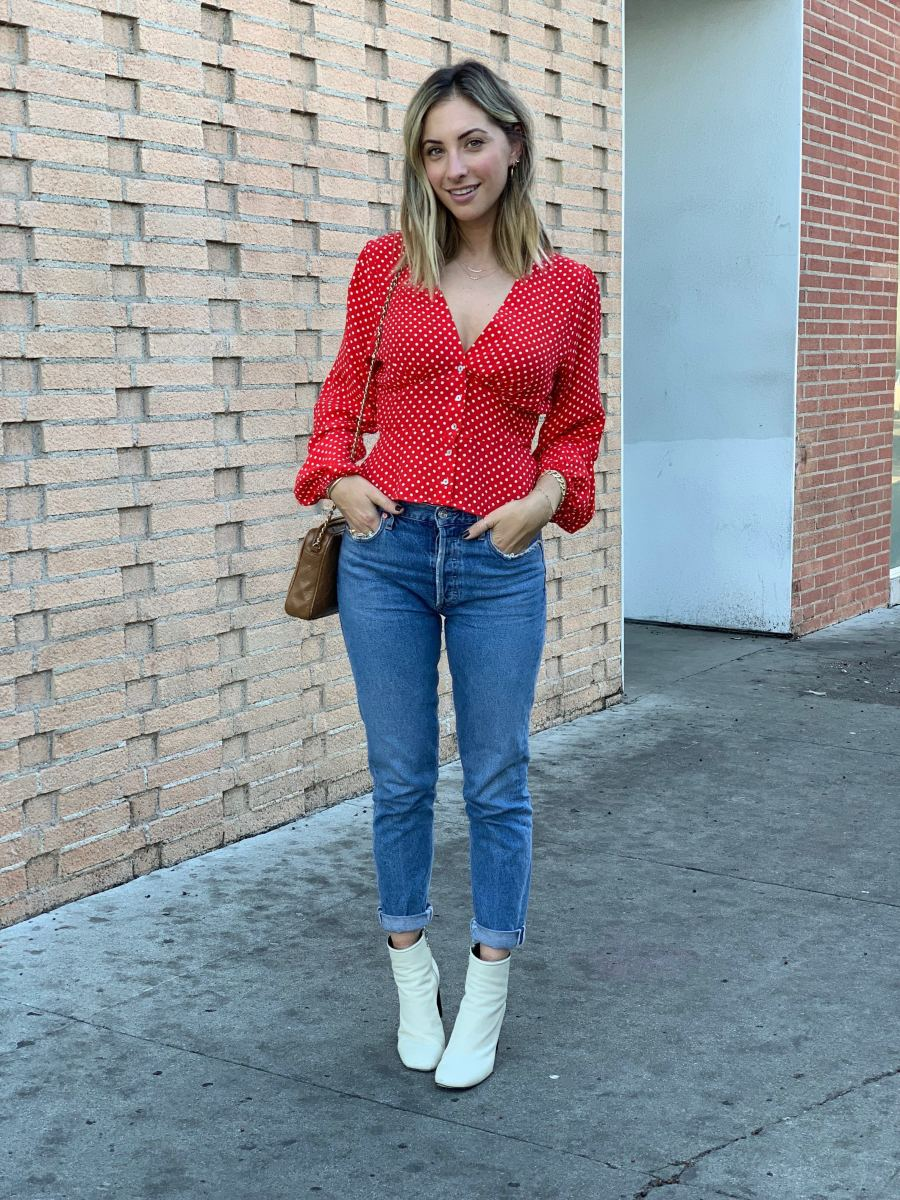 Tuesday: Free PeopleTop, AGOLDE Jeans, Rag + Bone Booties (similar version here)