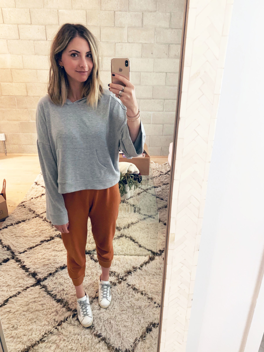 Friday: Cupcakes and Cashmere Sweatshirt, All Things Fabulous Sweatpants, Golden Goose Sneakers